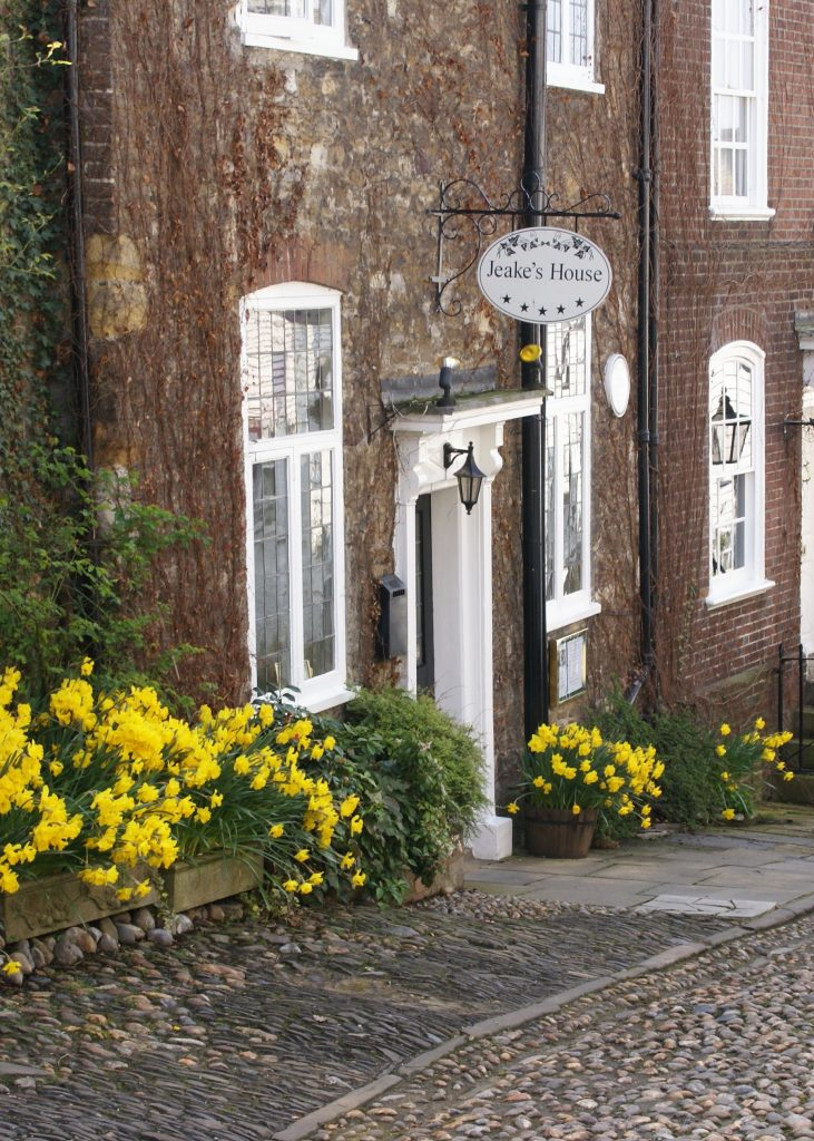 Jeakes house front door in spring